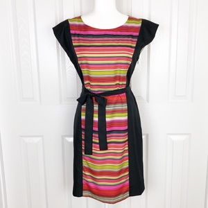 Banana Republic neon stripe tie waist dress